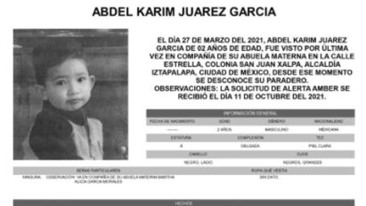 Activan Alerta Amber para localizar a Abdel Karim Juárez García