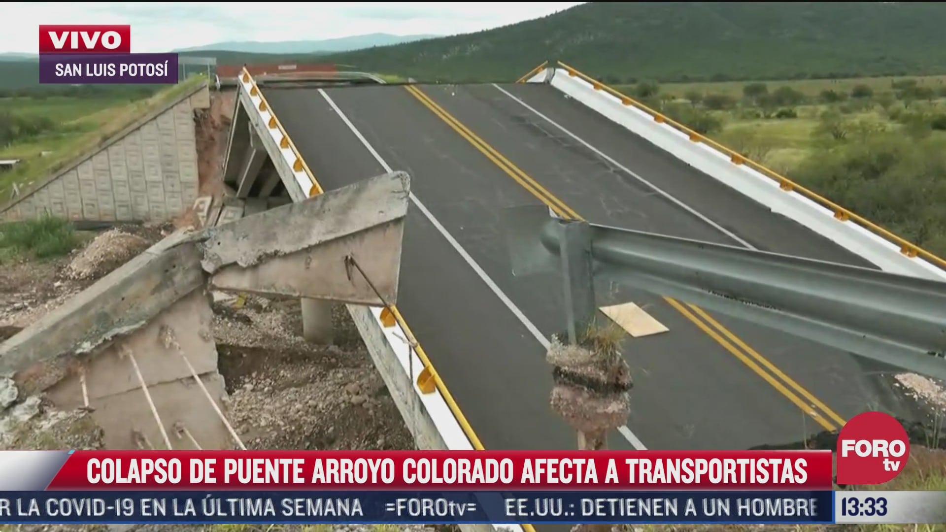 colapso de puente arroyo en slp afecta a transportistas