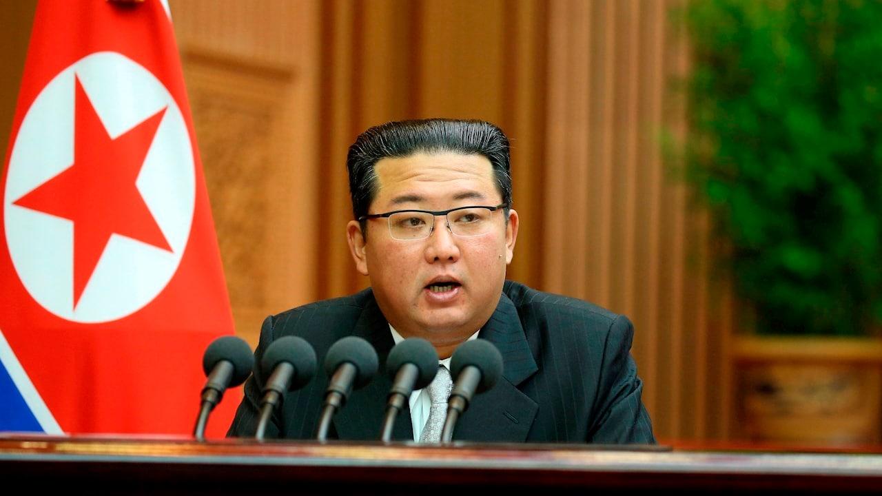 Fotografía del líder de Corea del Norte, Kim Jong-un durante una conferencia