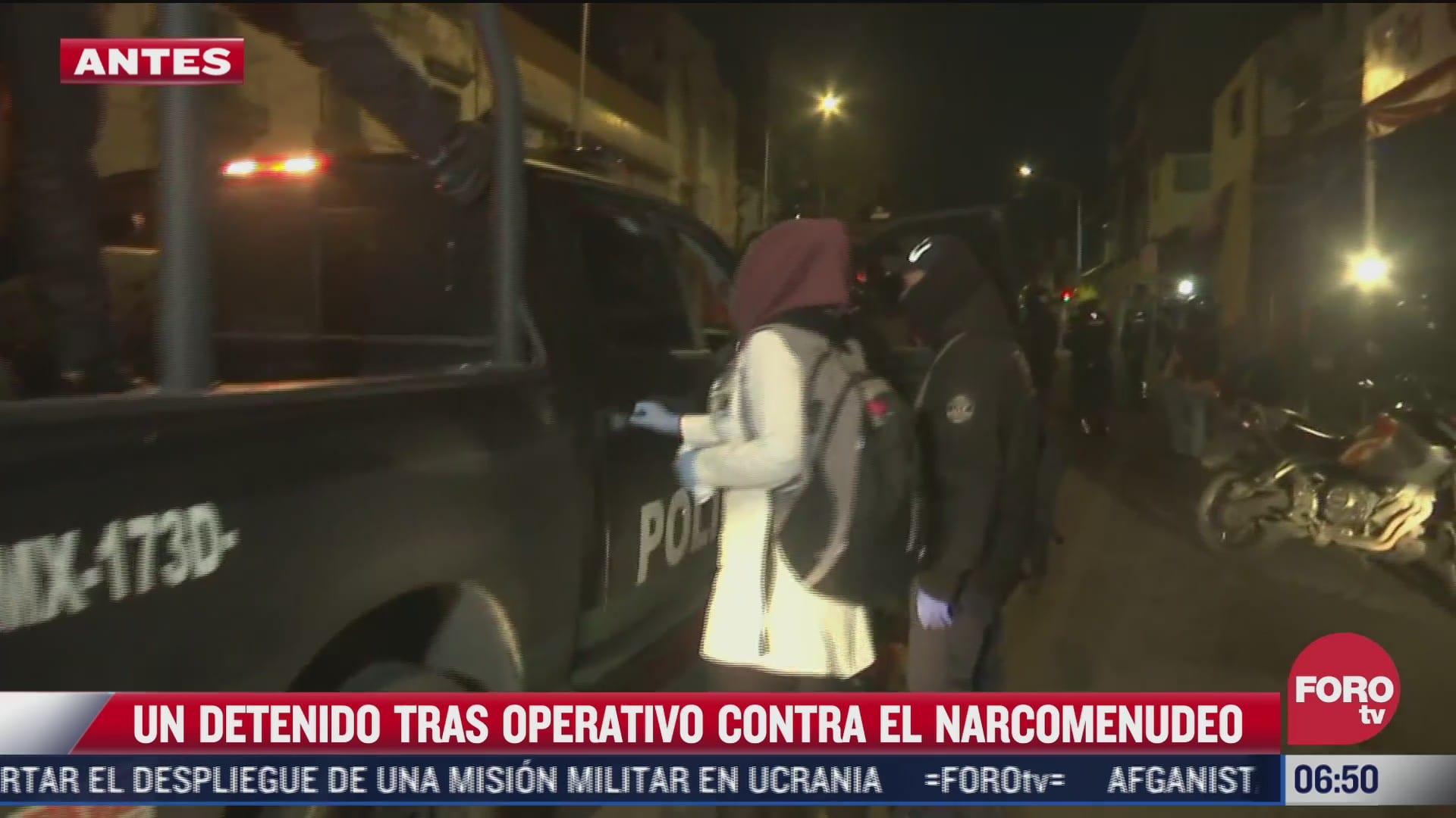 detienen a una persona en operativo contra narcomenudeo en vecindad de cdmx