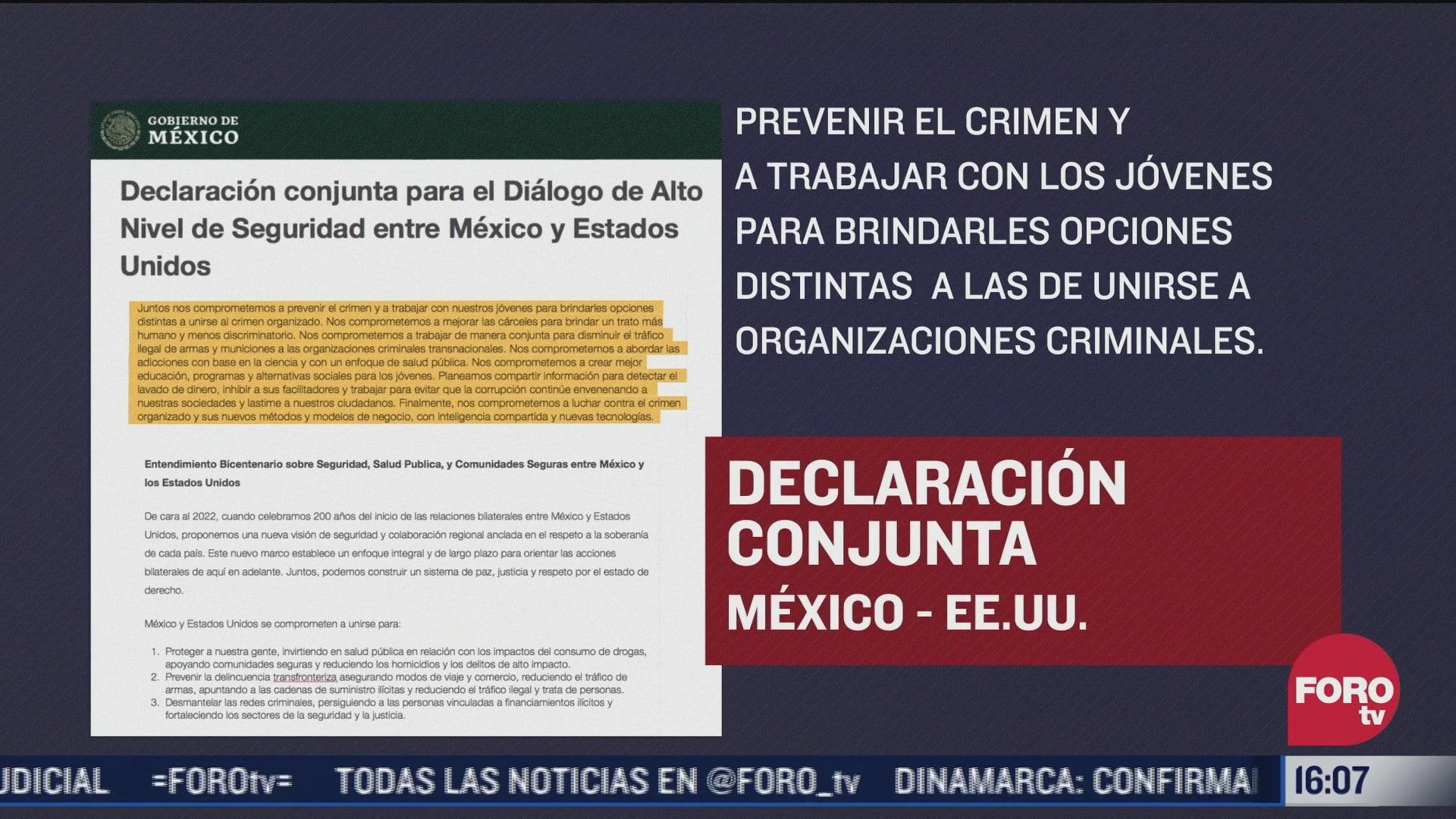 difunden declaracion conjunta tras reunion de alto nivel mexico eeuu