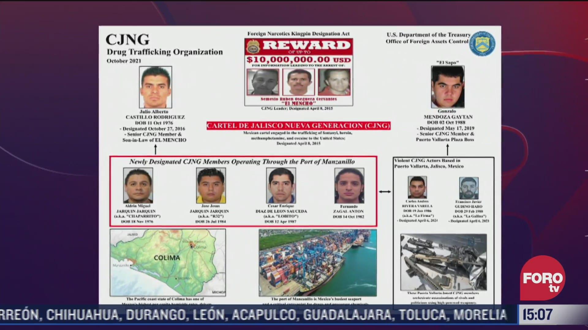 eeuu sanciona a integrantes del cartel jalisco nueva generacion