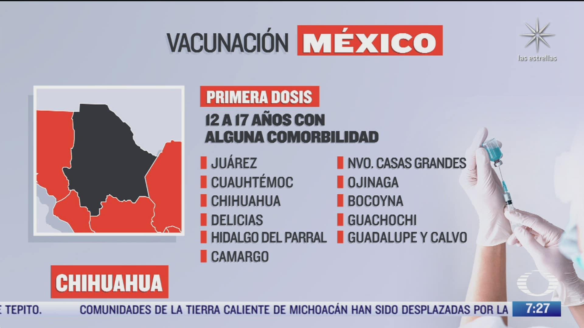 en que estados inicia la vacunacion covid hoy 22 de octubre de