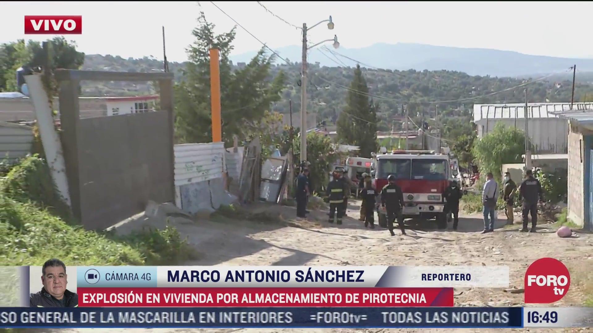 explosion en vivienda por pirotecnia deja 3 lesionados