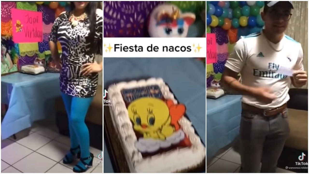 tiktok, fiesta, cumpleaños, video viral, captura de pantalla