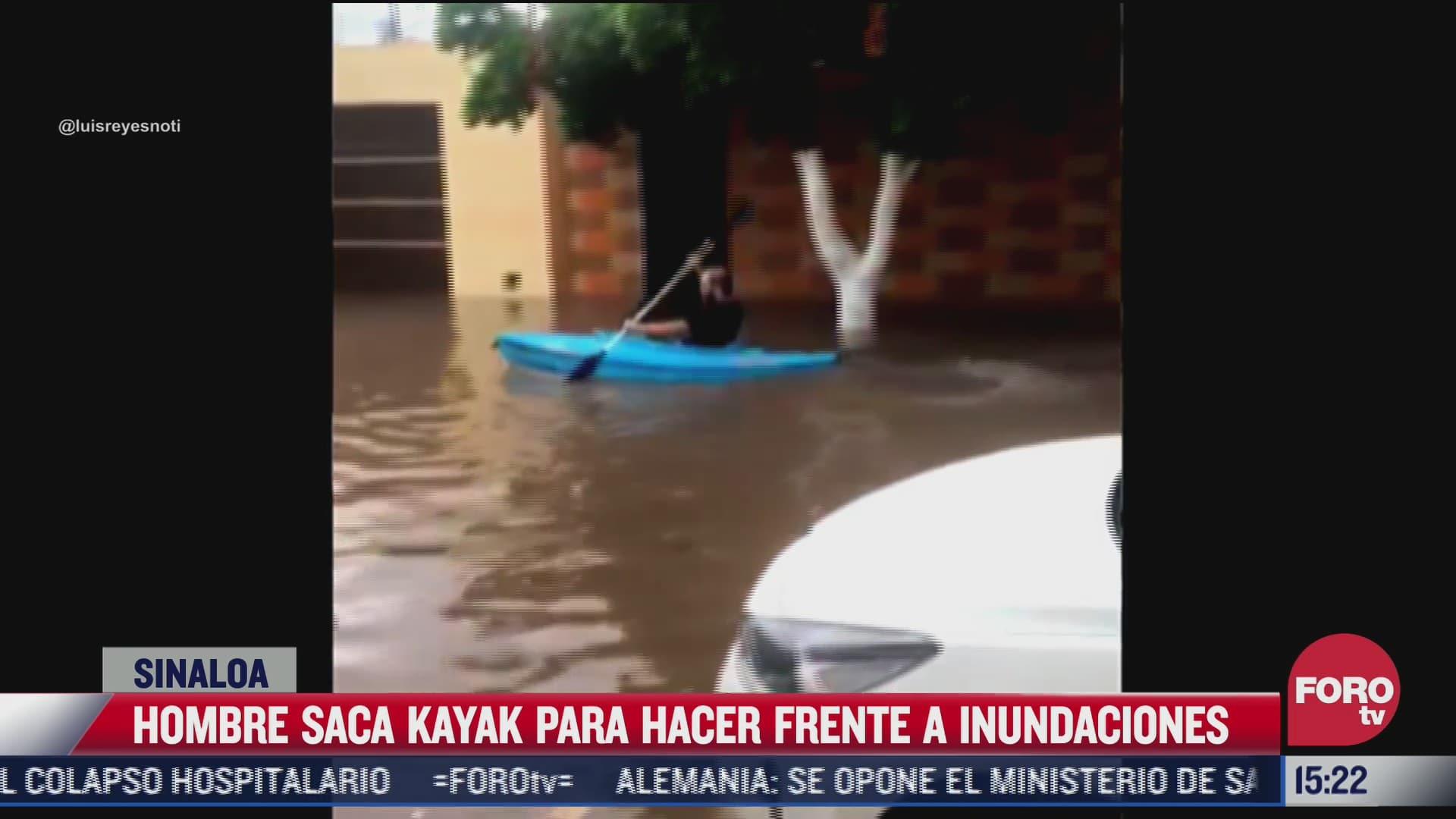 joven en kayak ayuda a apersonas varadas en inundaciones en sinaloa