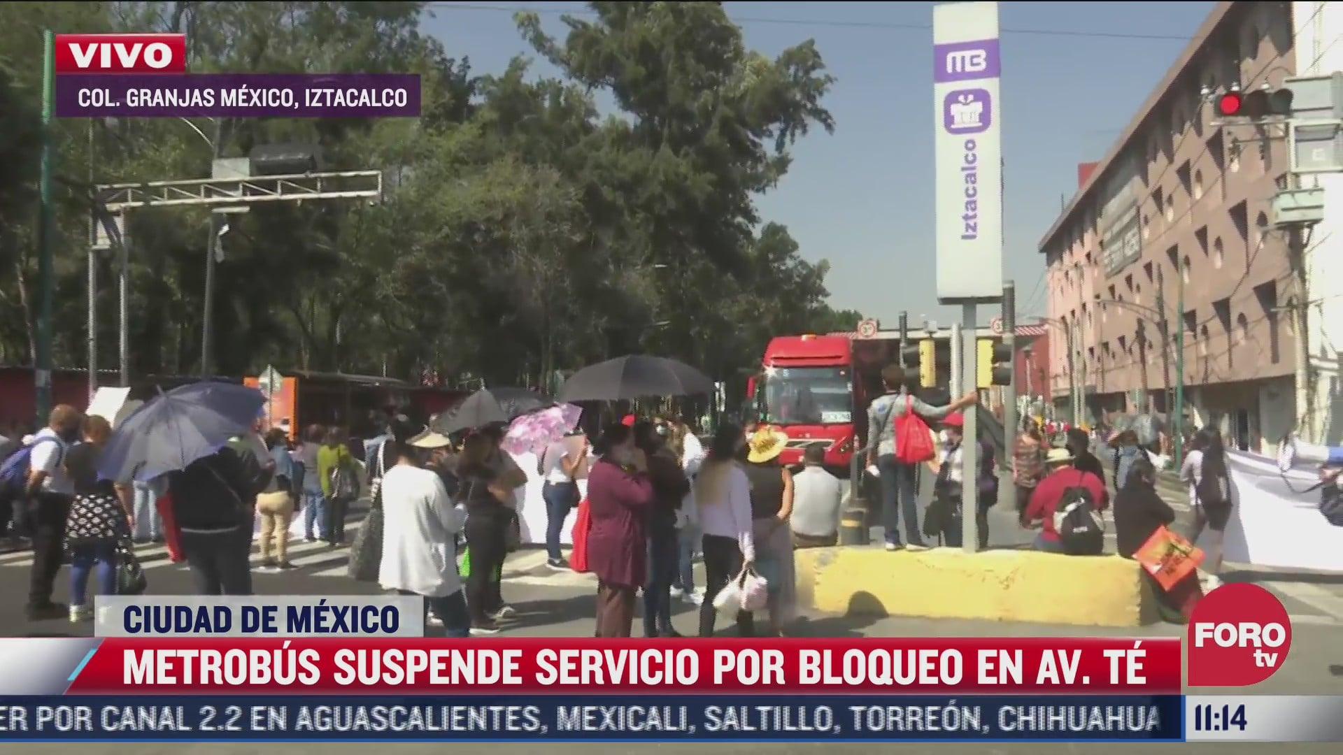 metrobus suspende servicio varias estaciones de la linea 2 por bloqueo en avenida te en iztacalco