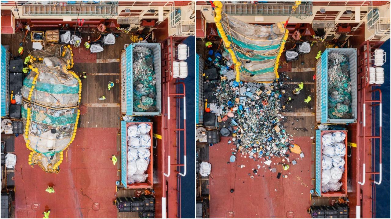 ONG Ocean Cleanup logra sacar 9 toneladas de plástico en el Océano Pacífico