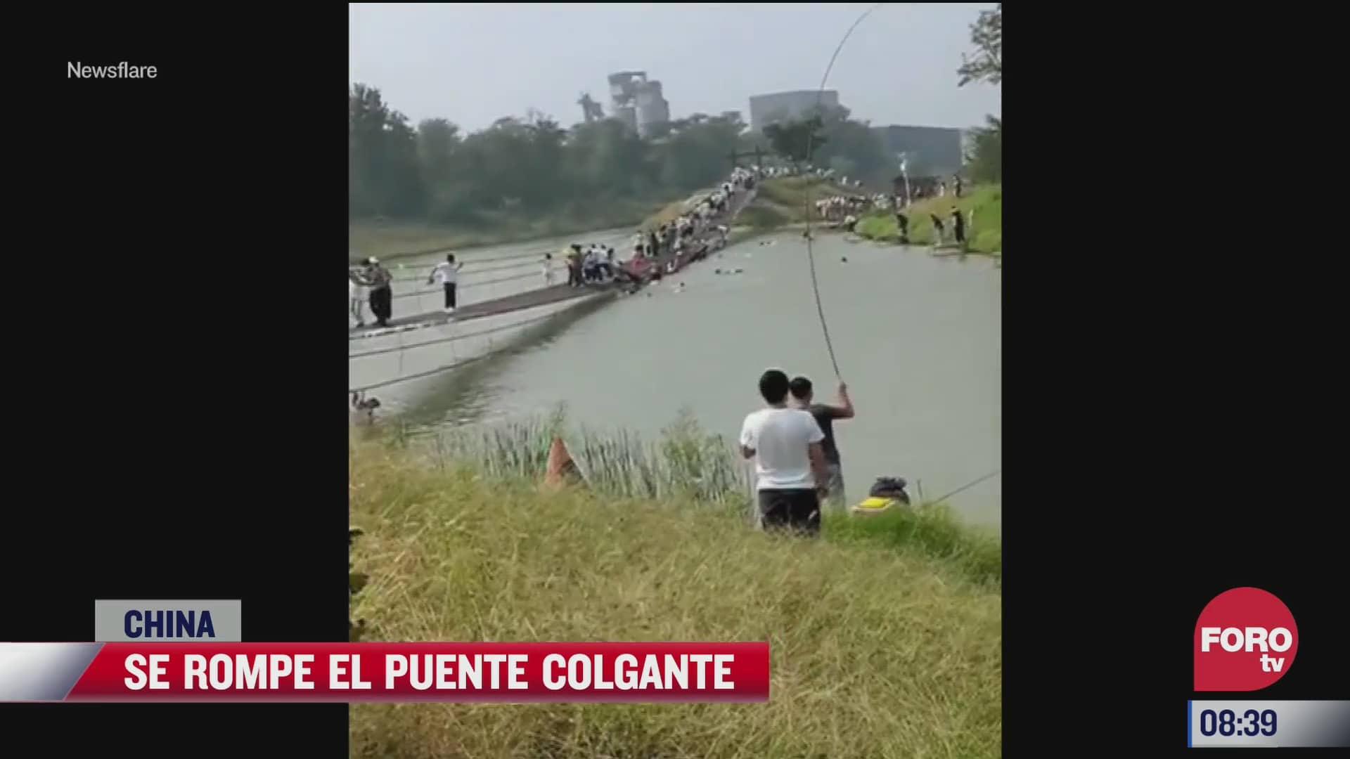 se rompe puente colgante en china