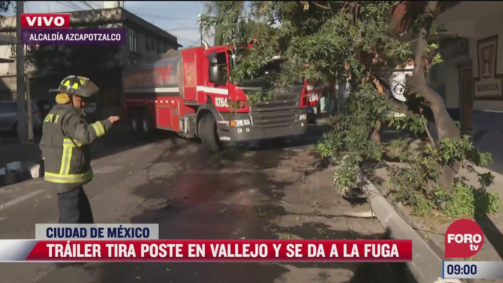 trailer choca contra poste en la alcaldia azcapotzalco en cdmx