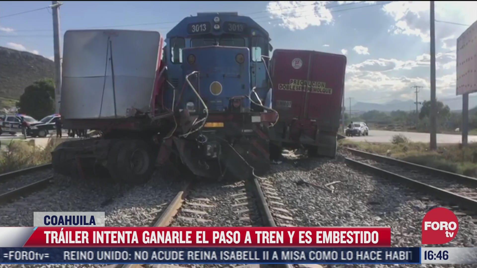 trailer termina arrollado por el tren en coahuila