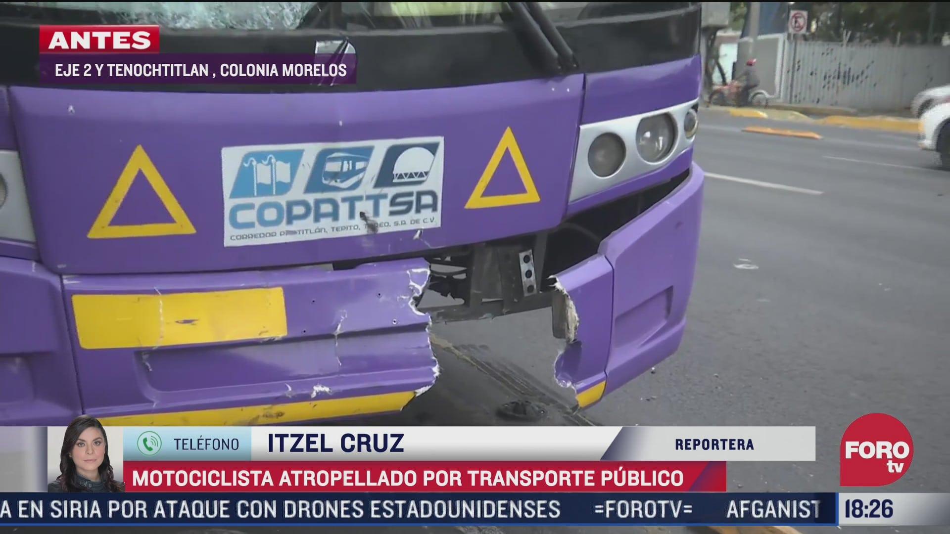 transporte publico atropella a motociclista en cdmx