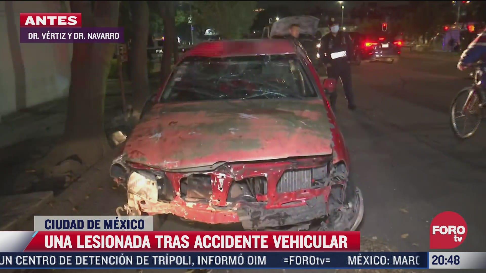 una lesionada tras accidente vehicular en vertiz