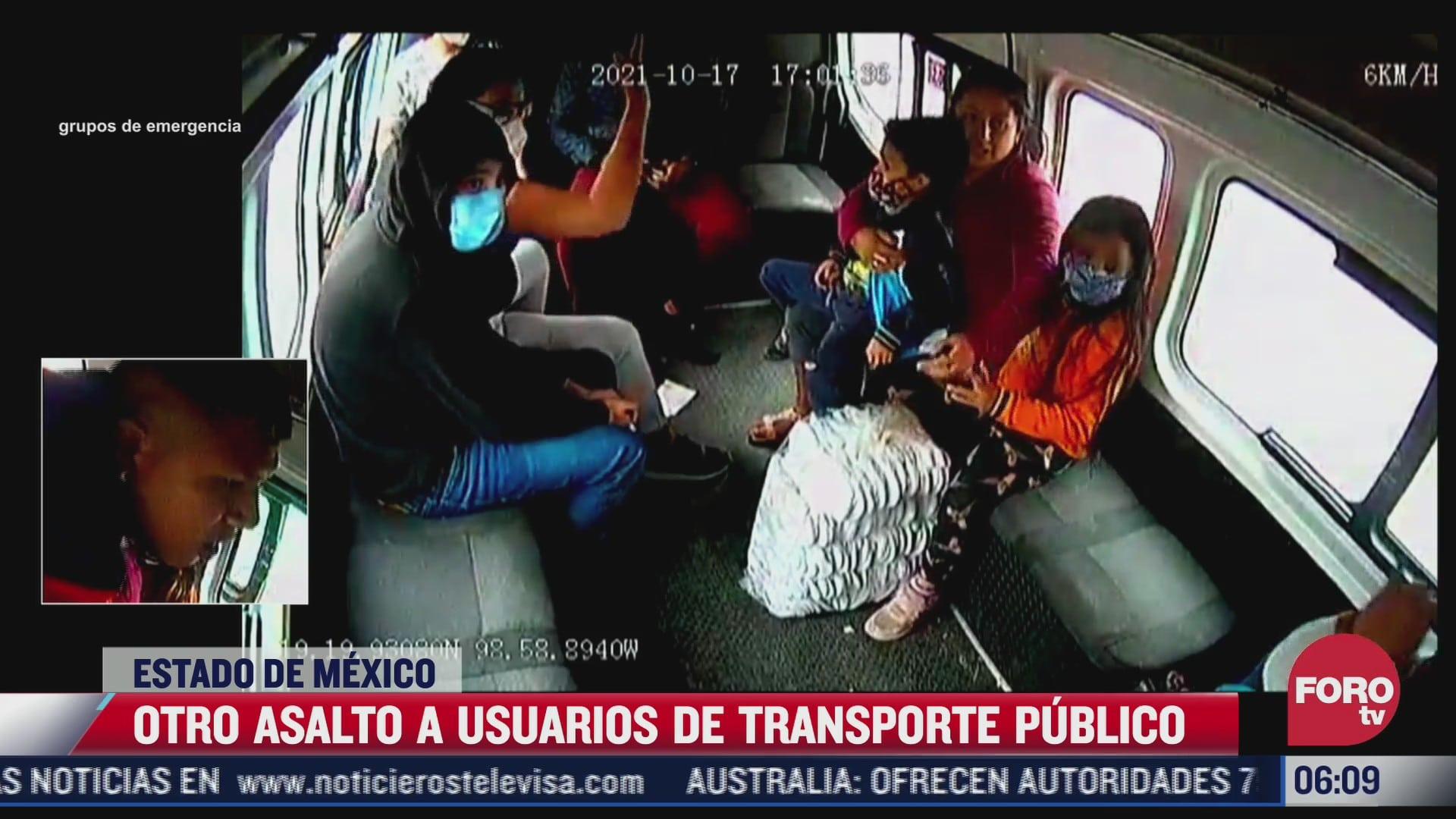video delincuentes golpean a mujer durante asalto a transporte publico en edomex