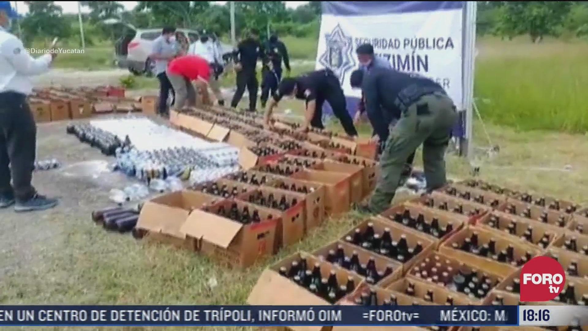 video destruyen mas de mil cervezas en yucatan