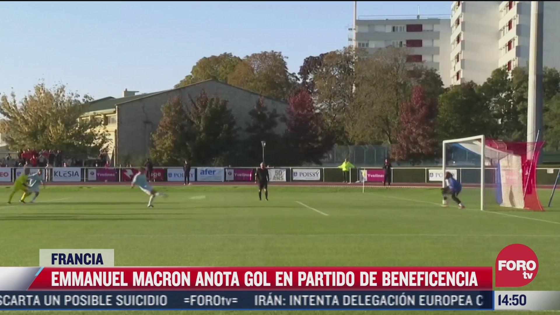 video presidente de francia anota gol de penal en partido de beneficencia