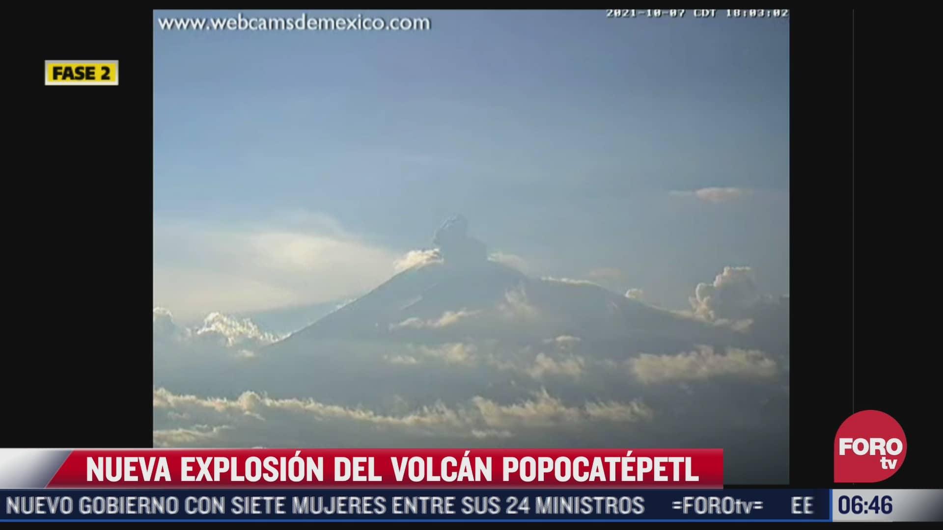 volcan popocatepetl amanece con una explosion hoy viernes 8 de octubre